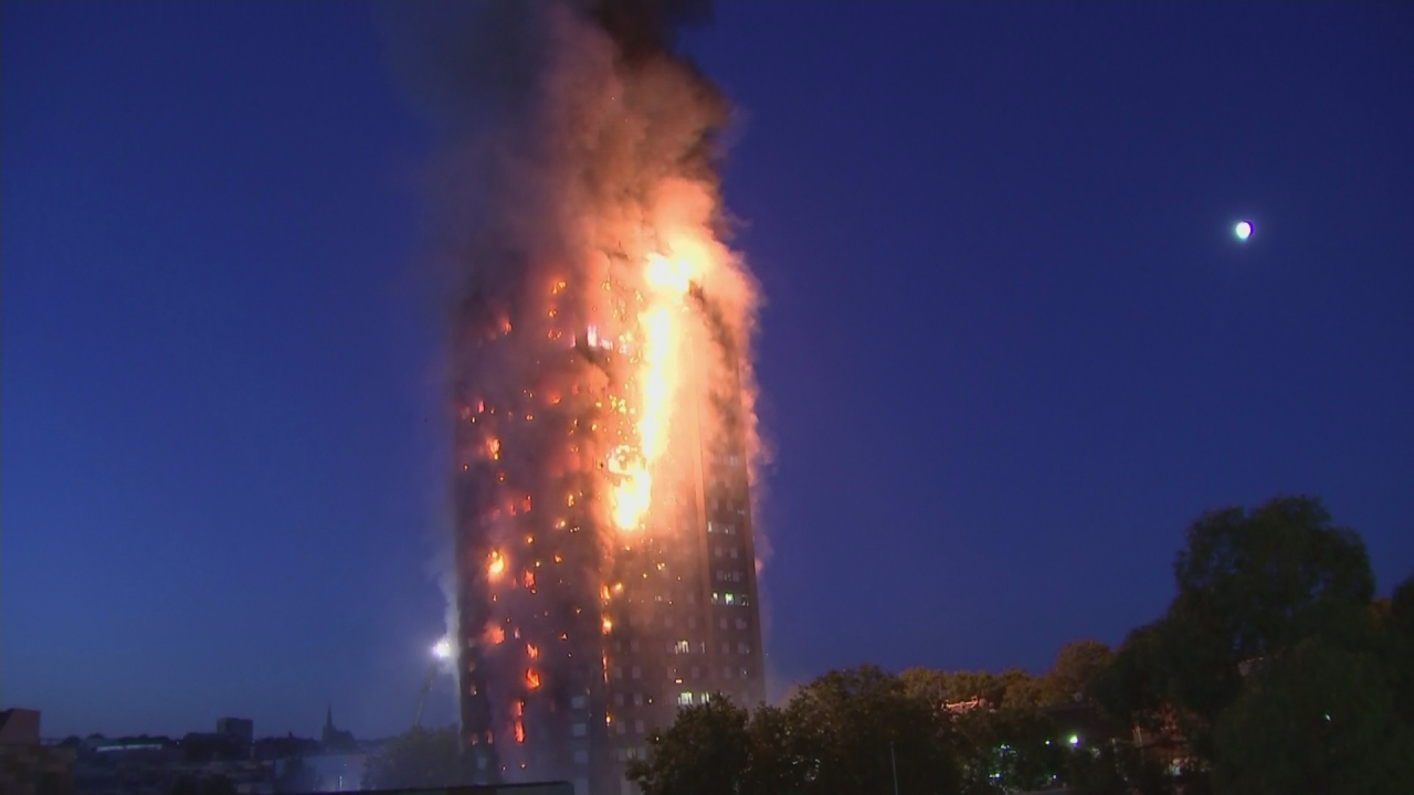 London fire burns down 27-storey building, several killed, residents jump from tower