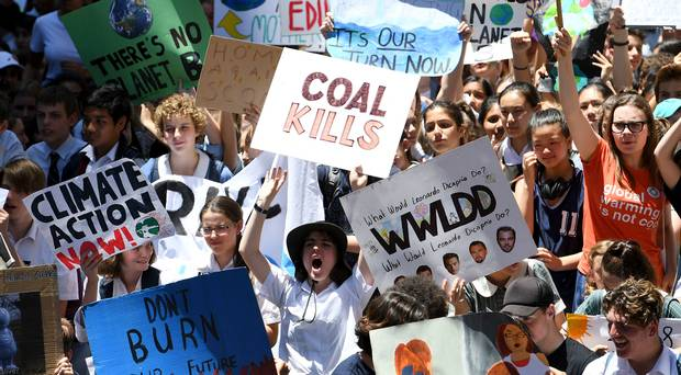 School children protest over climate change in Britain
