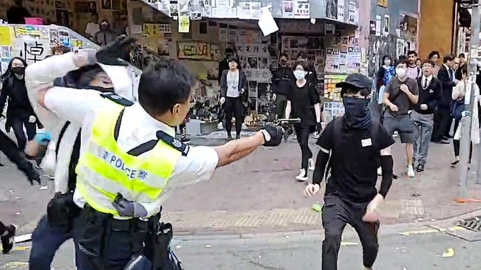 Hong Kong police shoot and critically wounded a protester