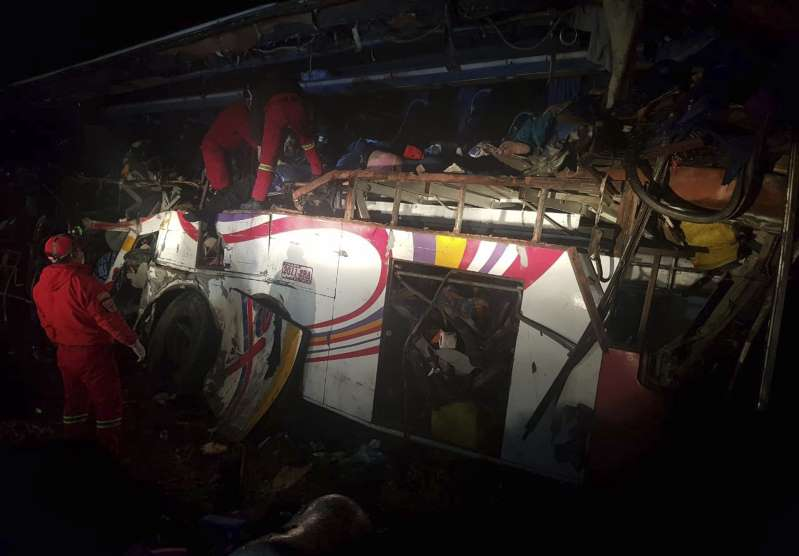 Bus hits dump truck in Bolivia; at least 24 reported dead