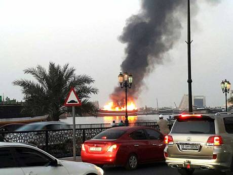 Fire in wooden dhow at Sharjah