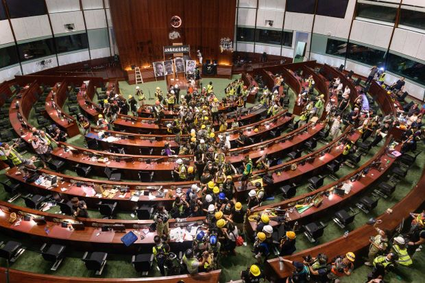 Hong Kong protesters breach the inside of parliament building