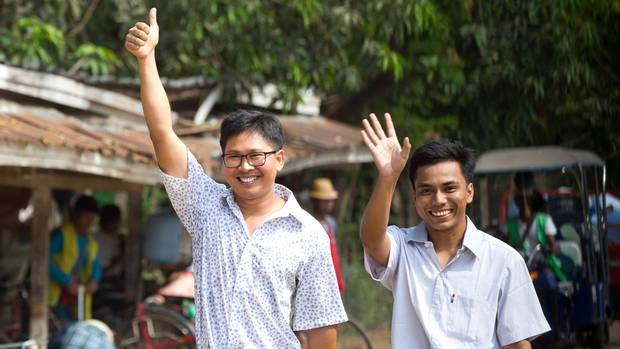 Journalists walk free after more than 500 days in Myanmar prison