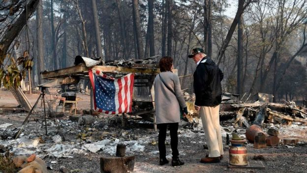 California wildfires: Trump visits state