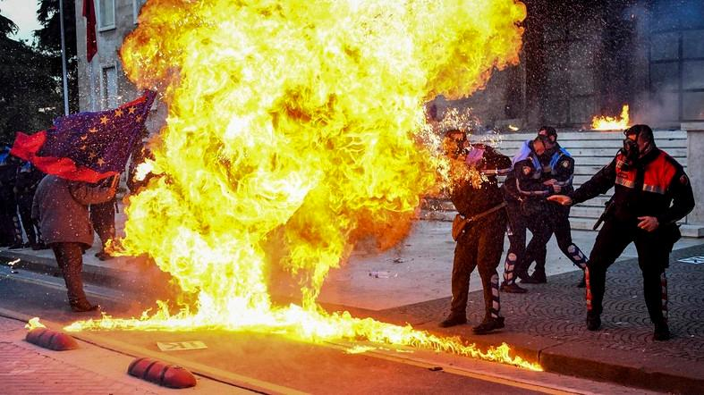 Albanian protesters hurl petrol bombs, seek snap polls