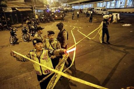 Suspected suicide bomb in Jakarta kills policeman, injures 4