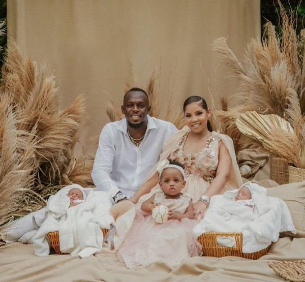 Usain Bolt reveals his new twins, Thunder and Saint Leo