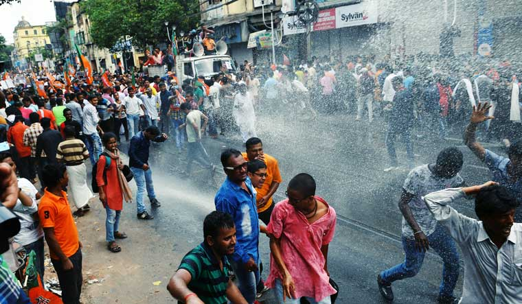 Violence erupts during BJP's protest rally in Kolkata