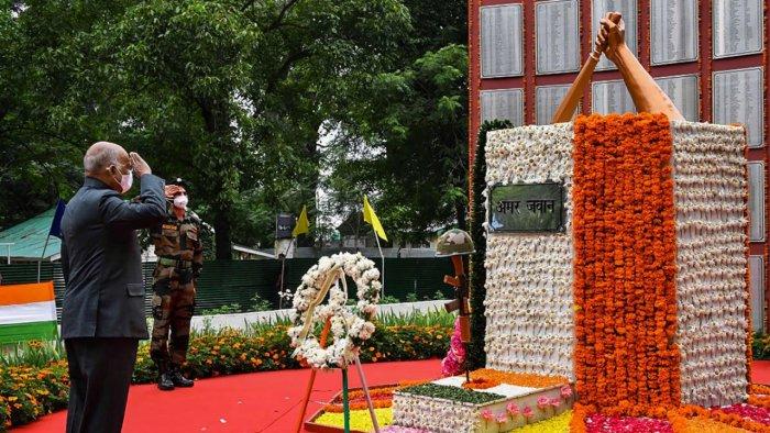 President Ram Nath Kovind pays homage to War Martyrs at Kargil War Memorial