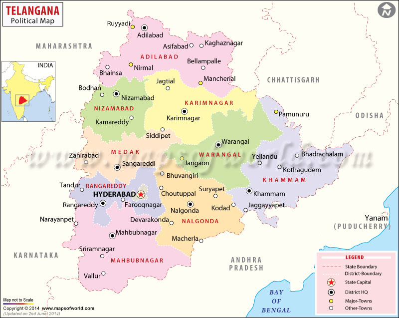 Telangana State to have 24 or 25 districts