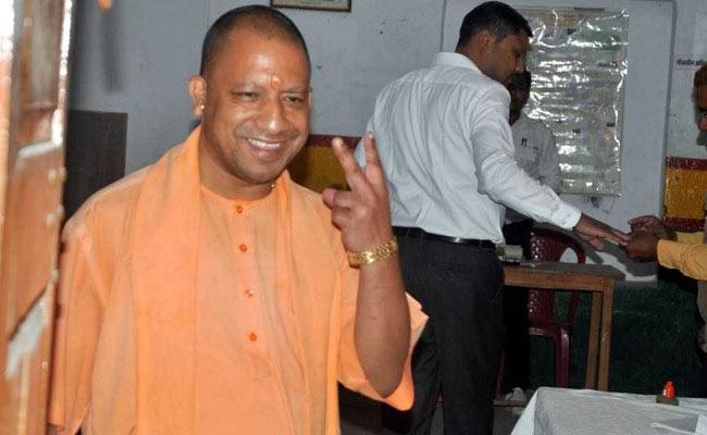 UP,Bihar bypolls : CM Yogi Adityanath casts vote