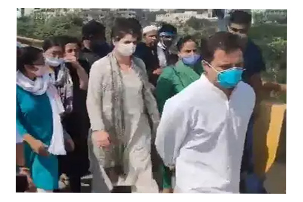 Rahul Gandhi, Priyanka Gandhi Vadra on padyatra to Hathras after convoy stopped in Greater Noida