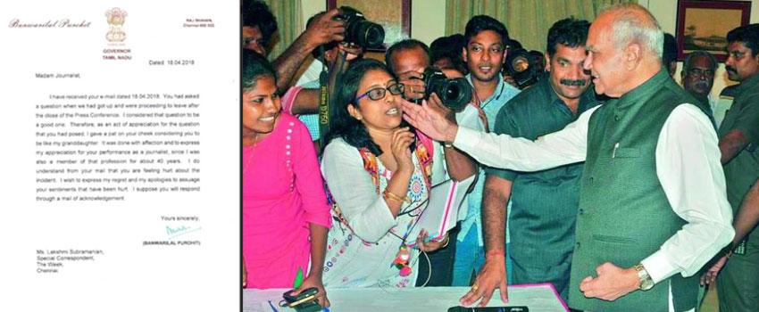 TN governor apologises for patting woman journalist Lakshmi Subramanian.