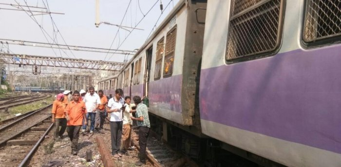 Local train coach derails near Mumbai