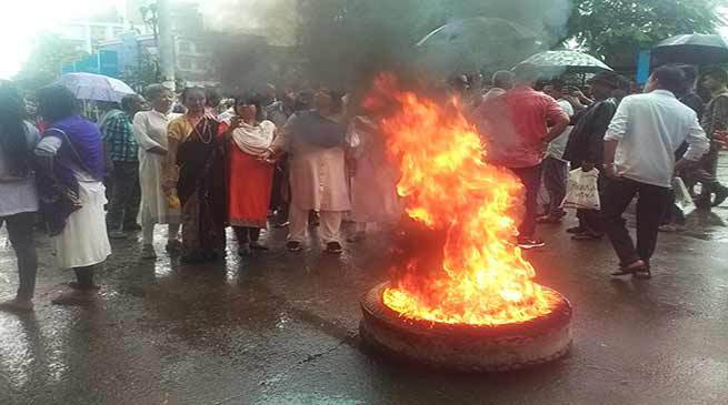 Assam bandh: Protestors squat on tracks, burn tyres