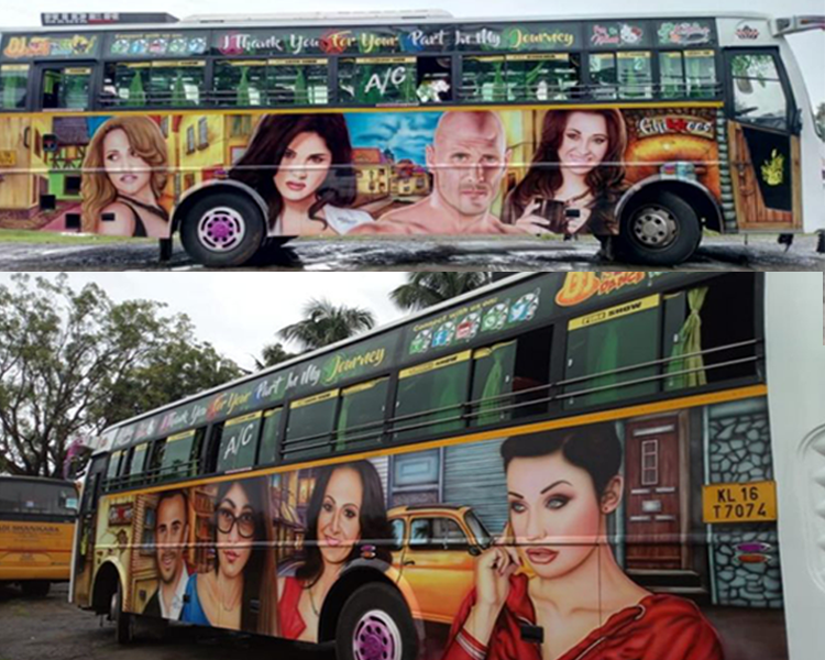 Paintings of prominent pornstars have made a tourist bus an internet sensation.