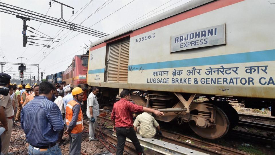 Coach of Rajdhani Express derails in Delhi