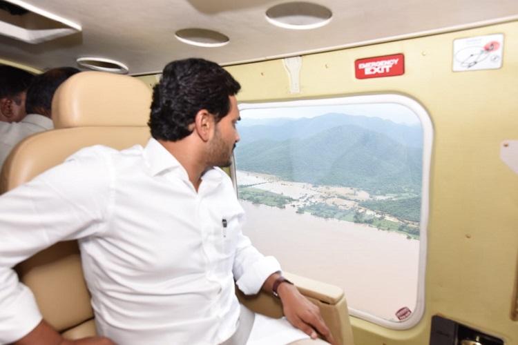Andhra Pradesh CM conducts aerial survey of flood hit areas in Krishna & Guntur districts