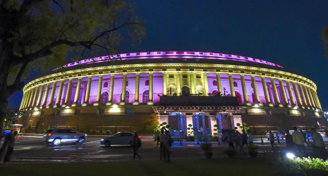 PM Modi inaugurates new lighting system in Parliament House