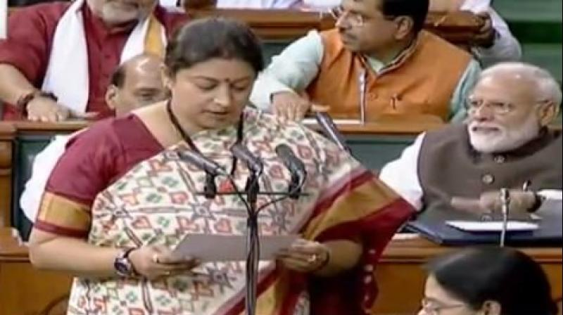 Smriti receives longest applause while taking oath as LS member