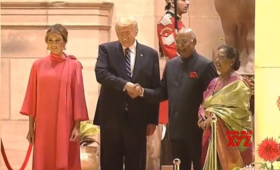 President Ram Nath Kovind receives US President Donald Trump at Rashtrapati Bhavan