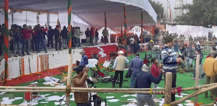 farmstrir:protestingfarmersransackvenueofcmkhattars'kisanmahapanchayatinkarnal