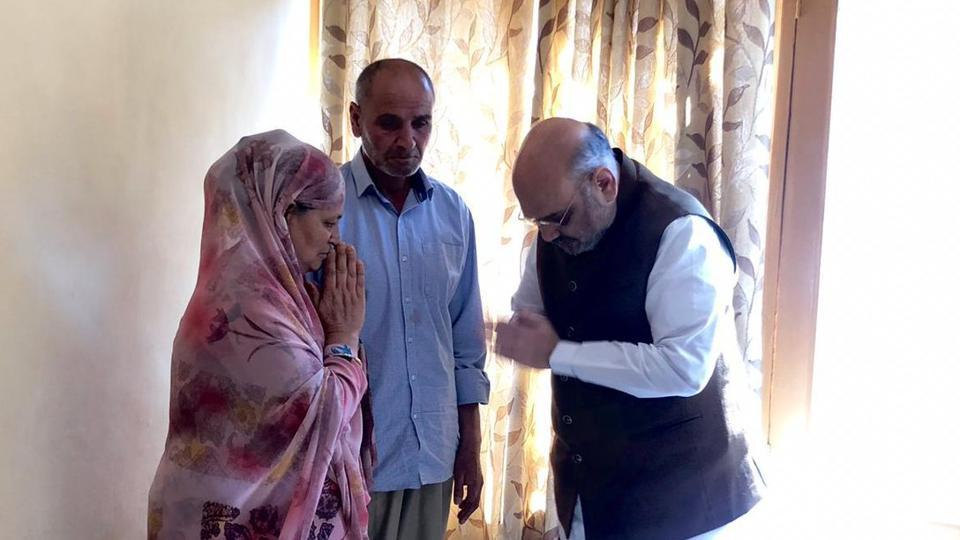 Amit Shah visits family of J-K inspector killed in Anantnag terror attack
