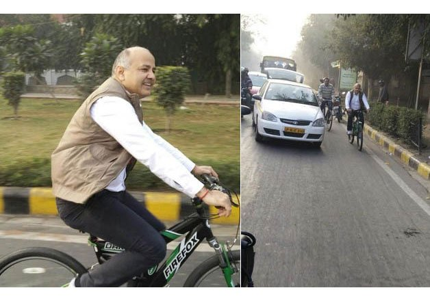 oddevenplan:evennumberedcarsrollonday2sisodiareachesofficeonbicycle