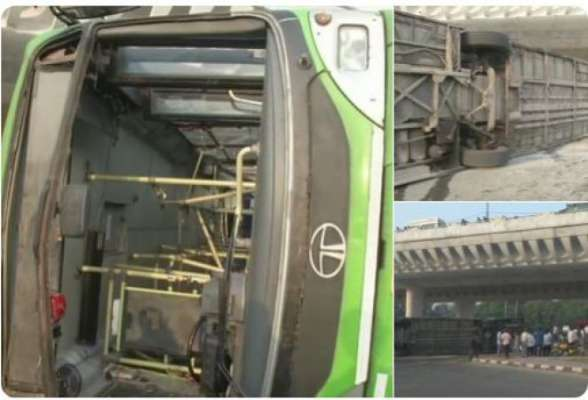 DTC bus overturns, nine injured