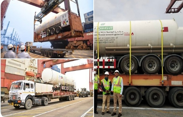 Kuwaiti Ship Arrives in Mumbai Carrying Three Semi-Trailers of LMO,1000 Oxygen Cylinders