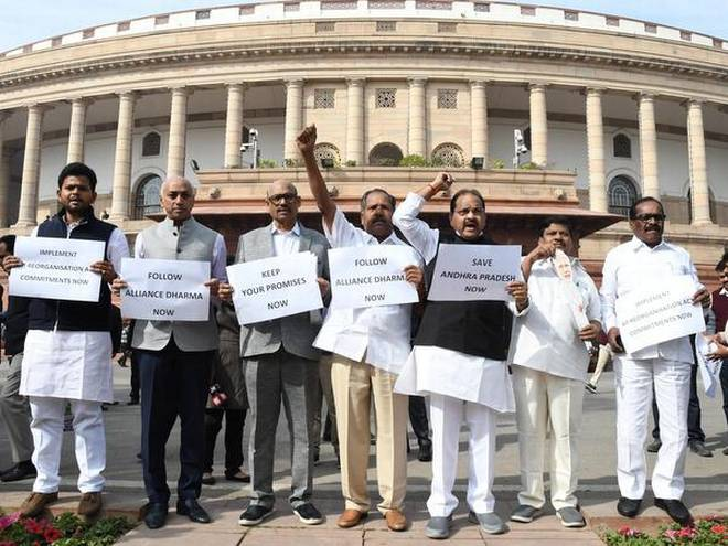 TDP, YSRCP MPs protest in LS over