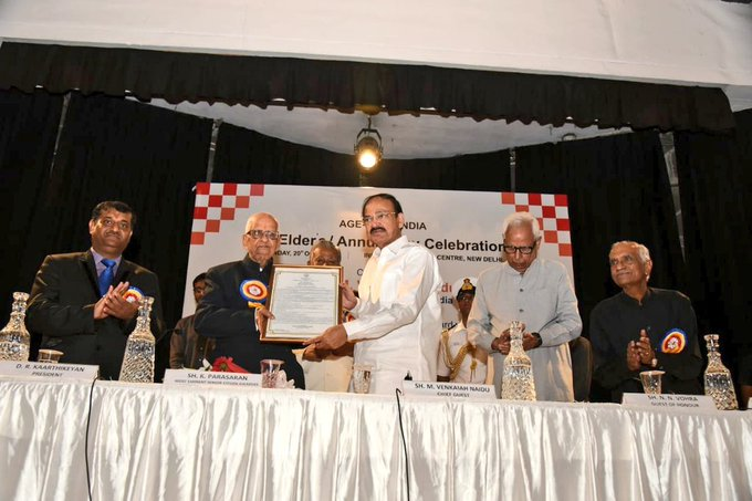 M Venkaiah Naidu presents Most Eminent Senior Citizen Award to K Parasaran