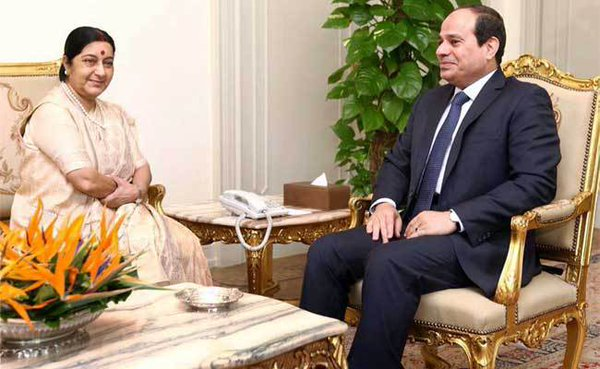 Sushma Swaraj meets President of Egypt yesterday