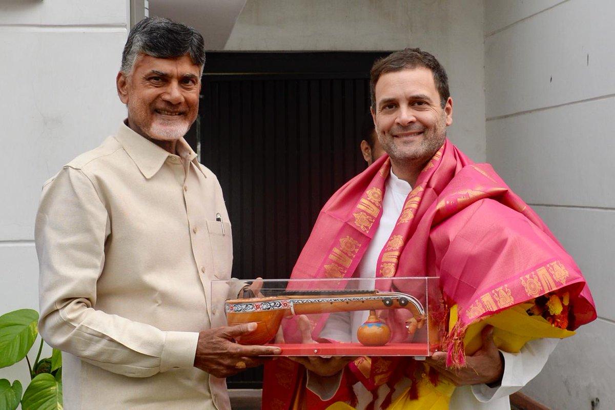 TDP chief Naidu meets Rahul Gandhi; discusses firming up anti-BJP front