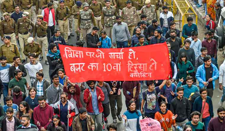 JNU students boycott exams over fee hike issue