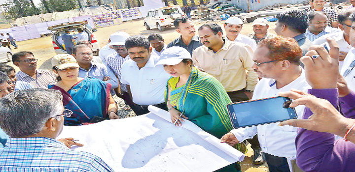 Smita Sabharwal inspects water grid works at Pusur village