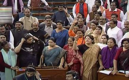 BJP members protest in Lok Sabha, demand apology from Rahul on rape remarks