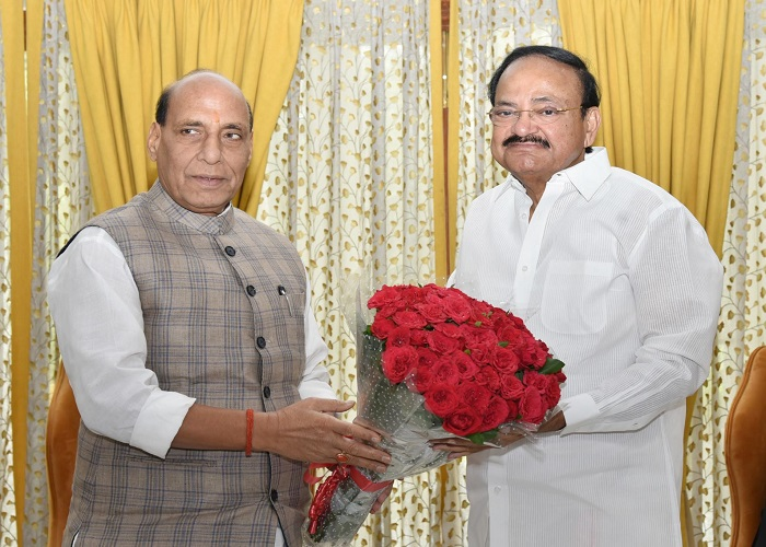 Defence Minister Rajnath Singh called on Vice President Venkaiah Naidu