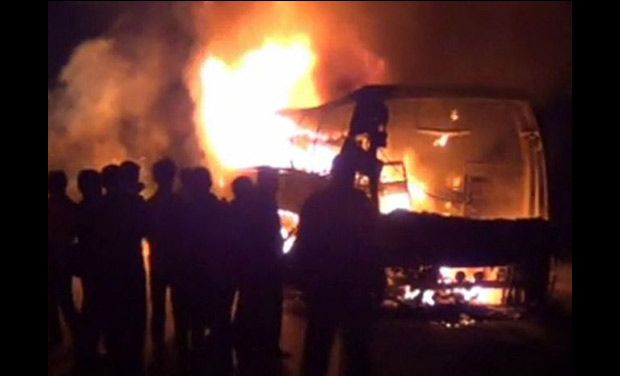 Five year old died as bus caught fire near Humnabad, Karnataka
