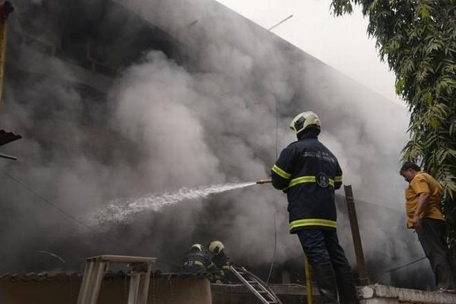 Fire at cloth mill in an industrial estate in Mumbai