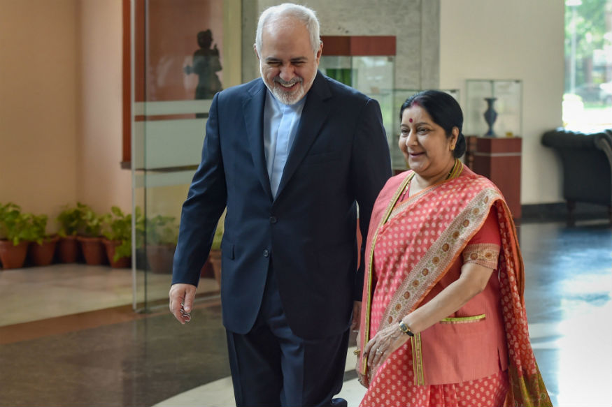 Sushma Swaraj holds meeting with Foreign Minister of Iran Mohammad Javad Zarif