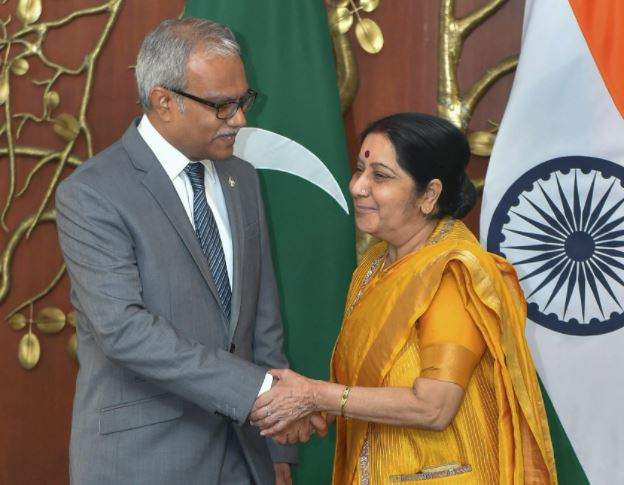 Swaraj meets top Maldivian leadership