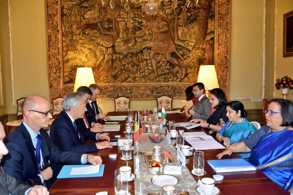 Sushma Swaraj meets Belgian Deputy PM in Brussels