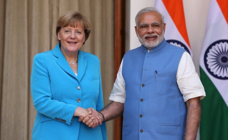Angela Merkel meets Modi at Rashtrapati Bhavan