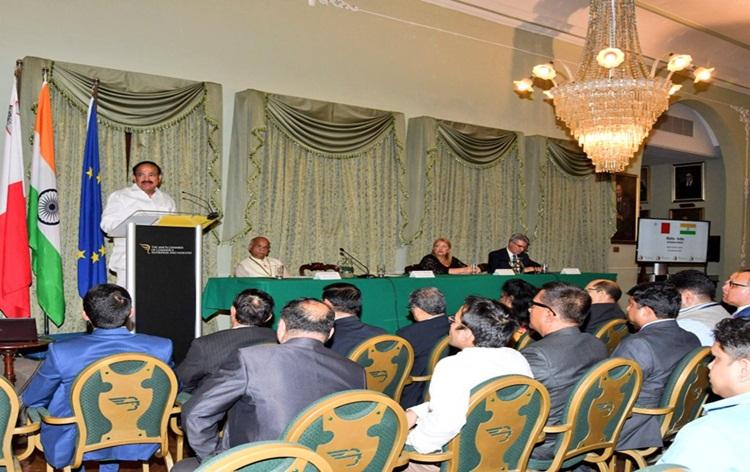 Vice President M Venkaiah Naidu invites the business community of Malta to invest in India