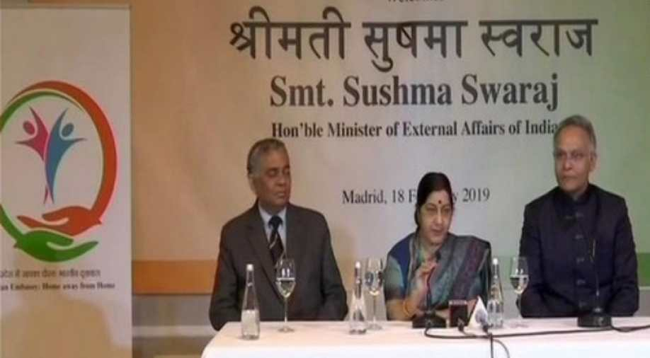 Sushma Swaraj reaches Madrid, Spain