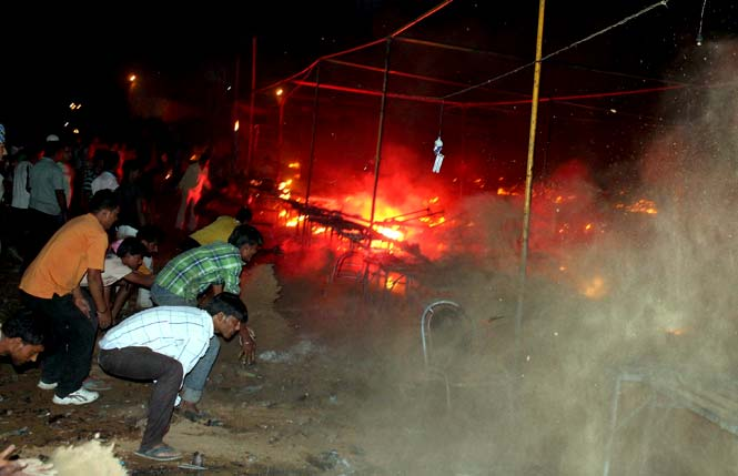 230 Shops gutted in a massive fire in Faridabad