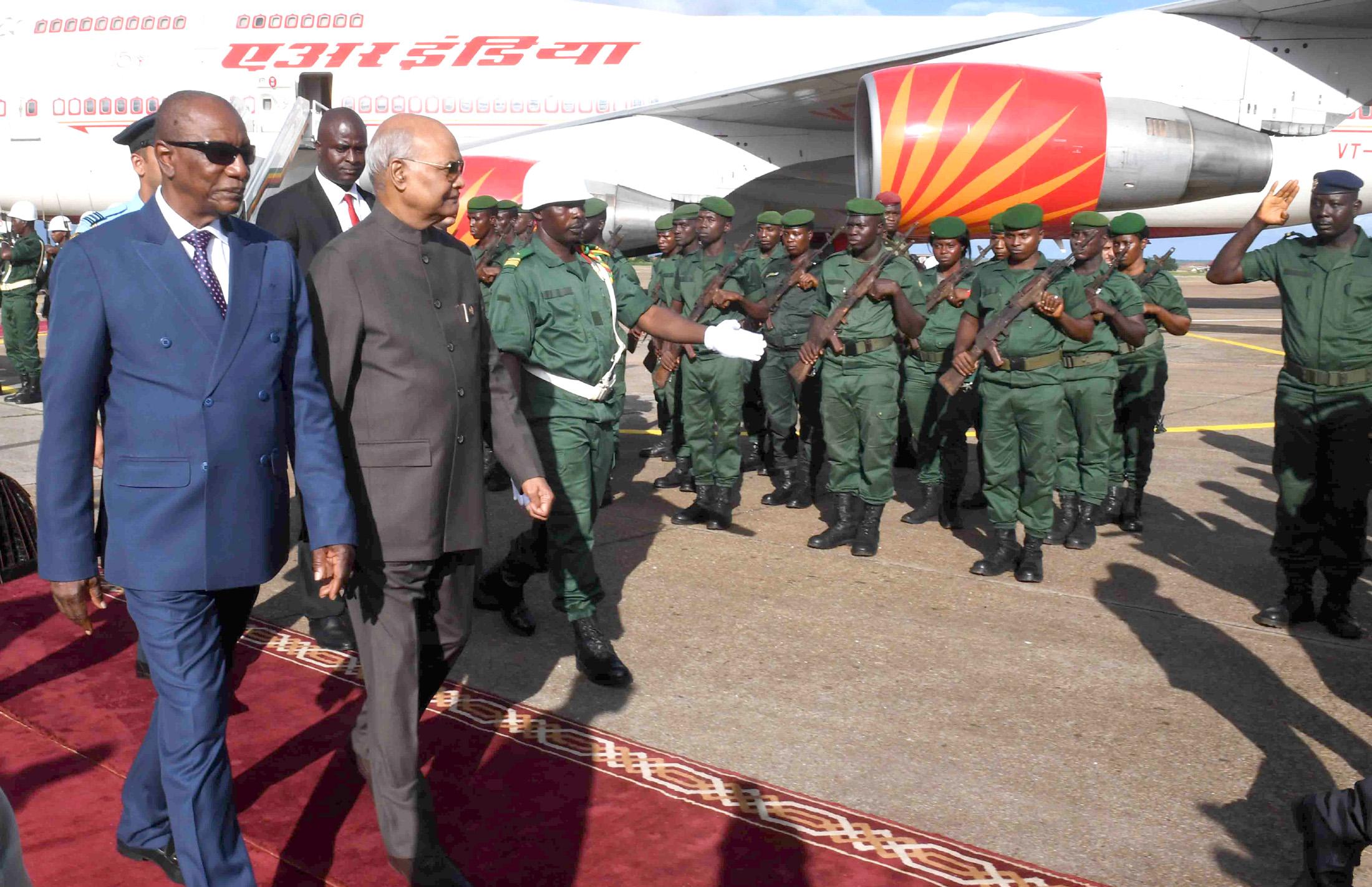 President Kovind reaches Guinea