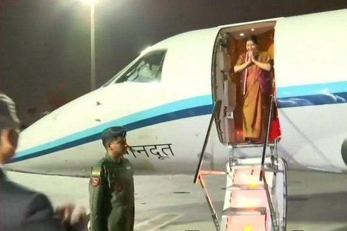 EAM Sushma Swaraj arrives in Qatar