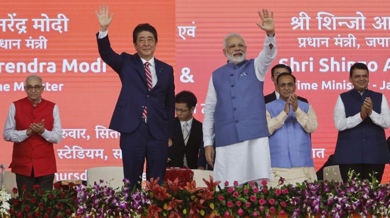 Modi,Abe lay foundation stone for Ahmedabad-Mumbai bullet train